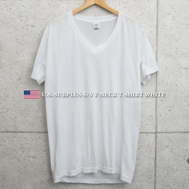 実物 新品 米軍 Vネック 半袖Tシャツ WHITE MADE IN USA