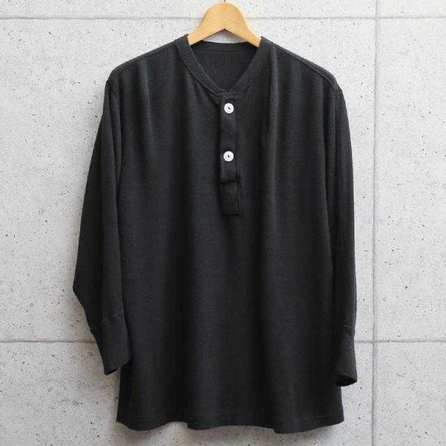 実物 新品 米軍 ヘンリーネックアンダーシャツ 2ボタン BLACK染め