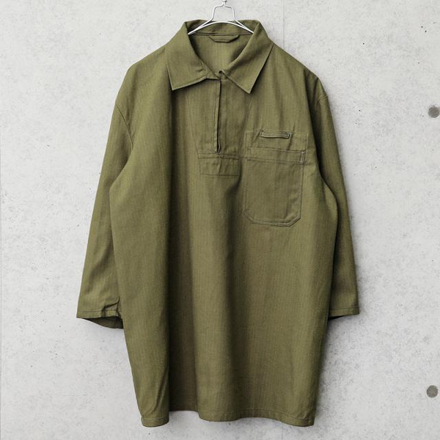 実物 新品 デッドストック チェコ軍 3/4 SLEEVE(七分袖)プルオーバー ワークシャツ ブラウン