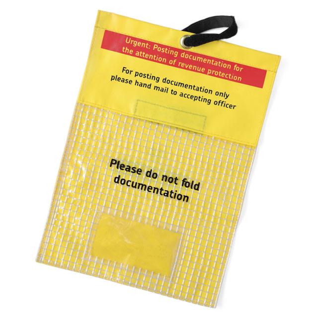実物 USED イギリス ROYAL MAIL PVC イエロー エンベロープ バッグ