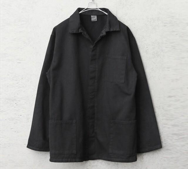 実物 新品 イタリア軍 裏起毛 ワークカバーオール BLACK染め #1 比翼あり