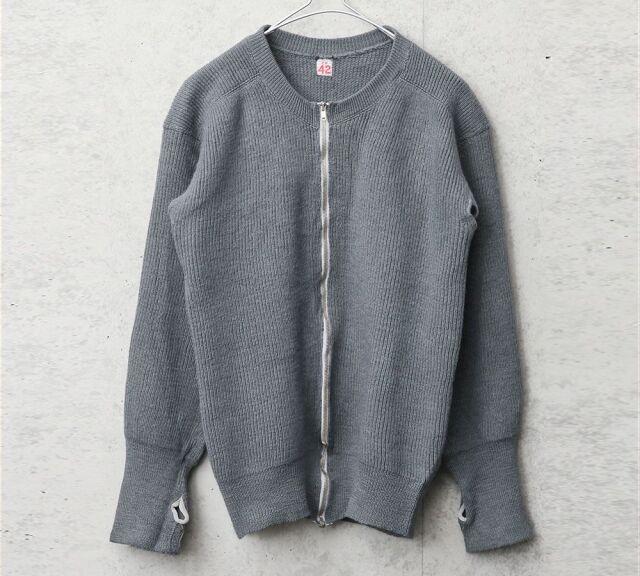 実物 USED デンマーク軍 ウール ジップセーター