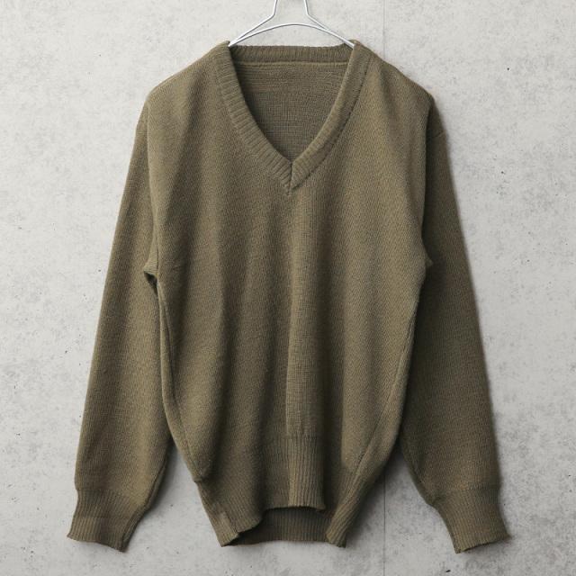 実物 USED イタリア軍 Vネックセーター
