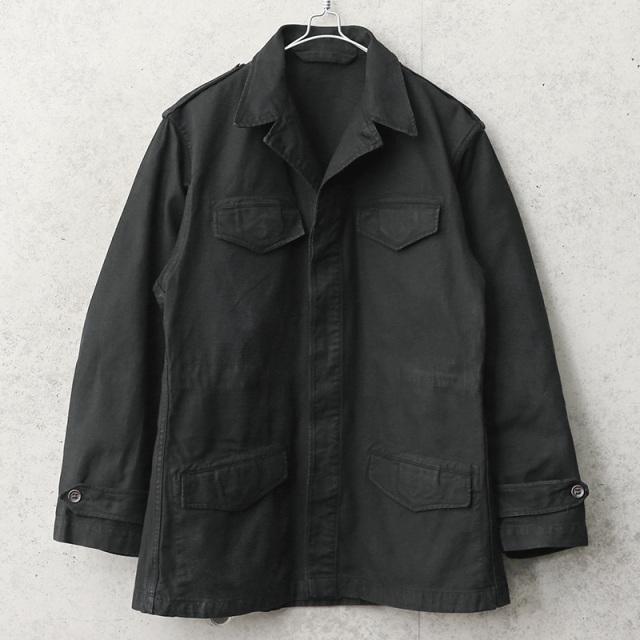 実物 USED フランス軍 M-47 フィールドジャケット 前期型 コットン製 BLACK染め
