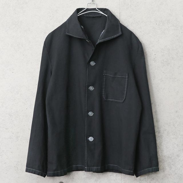 実物 USED ドイツ軍 パジャマシャツ BLACK染め