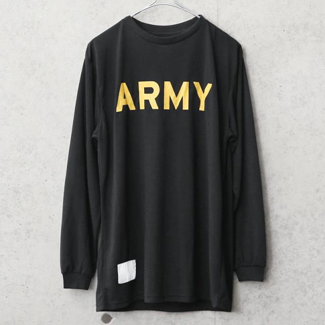 実物 新品 デッドストック 米軍 U.S.ARMY ブラック トレーニング ロングスリーブ Tシャツ