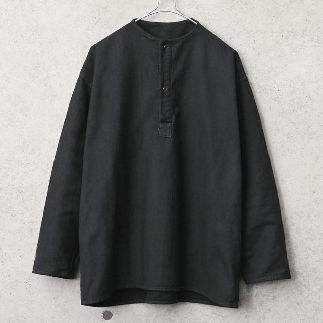 実物 新品 デッドストック ロシア軍 70s ヘンリーネック スリーピングシャツ BLACK染め