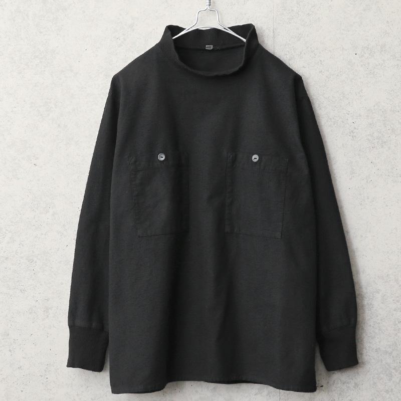 実物 USED ハンガリー軍 フランネル プルオーバー モックネックシャツ スクエアタイプ BLACK染め