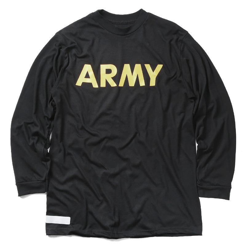 実物 USED 米軍 U.S.ARMY ブラック トレーニング ロングスリーブ Tシャツ
