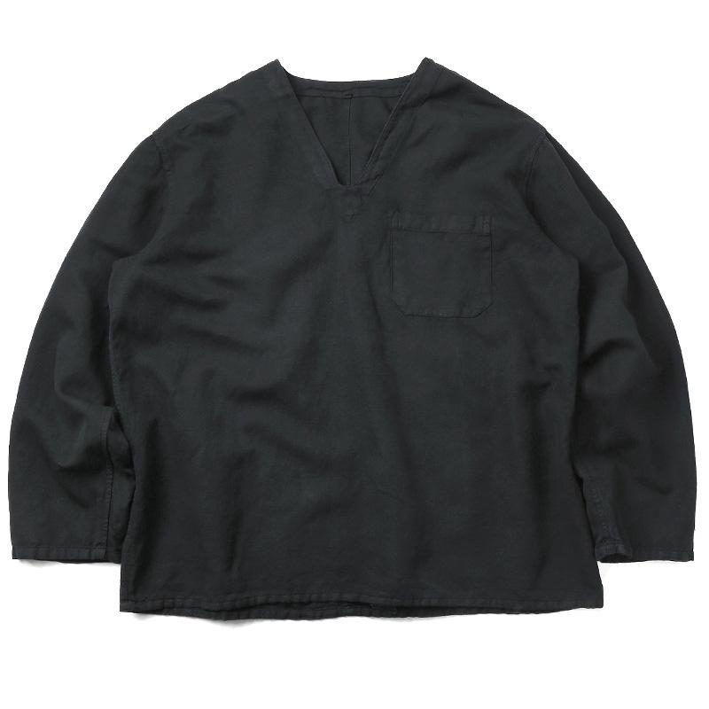実物 新品 ハンガリー軍 リネン Vネックスリーピングシャツ 後染め