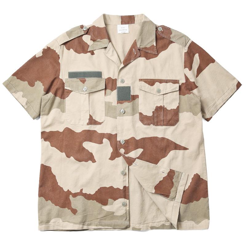 実物 USED フランス軍 HBT チャドシャツ 半袖 デザートカモ