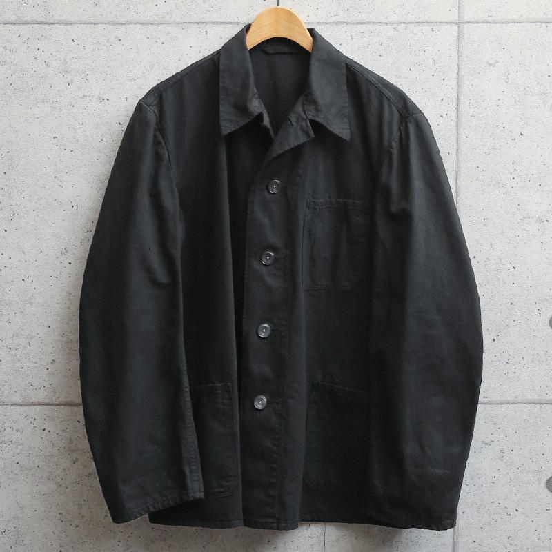 実物 新品 デッドストック ドイツ軍 BW コットン ワークジャケット BLACK染め