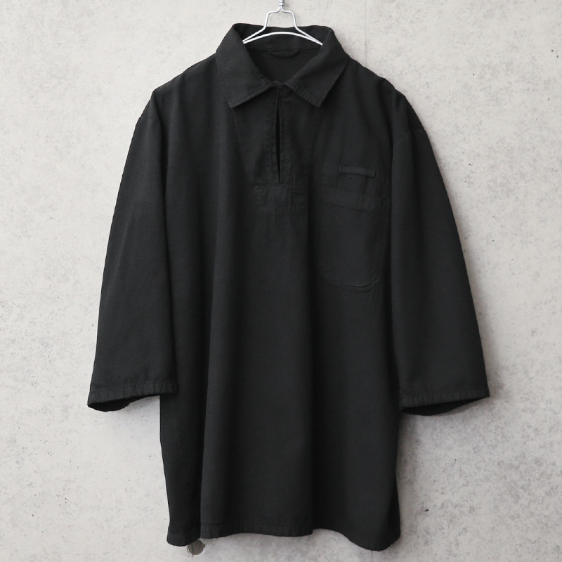 実物 新品 デッドストック チェコ軍 3/4 SLEEVE(七分袖)プルオーバー ワークシャツ BLACK染め