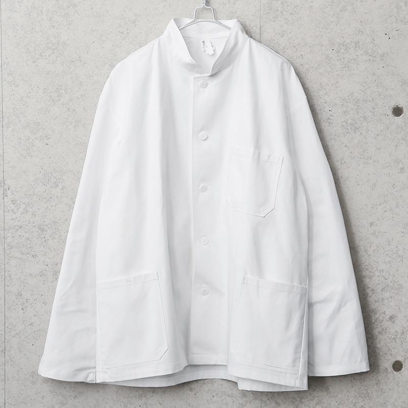 実物 新品 デッドストック チェコ軍 コットンツイル スタンドカラー ワークジャケット ホワイト