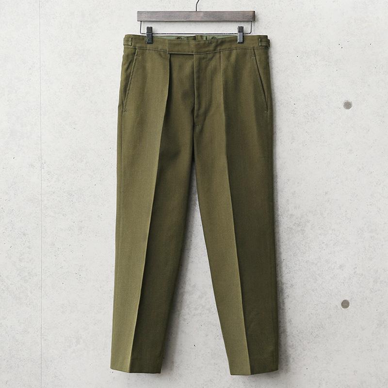 実物 新品 デッドストック イギリス陸軍 FAD No.2 DRESS ウール トラウザーズ オリーブブラウン サイドアジャスター