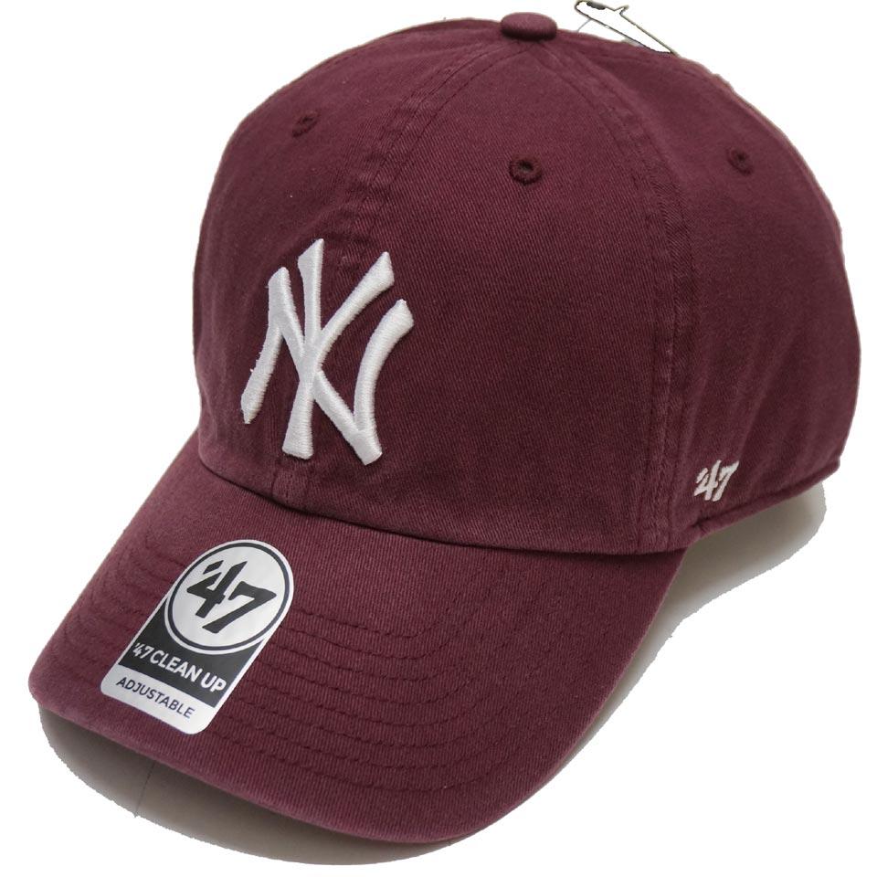 '47 フォーティーセブン ローキャップ 帽子 CLEAN UP CAP NEW YORK YANKEES ヤンキース NY マルーン バーガンディー