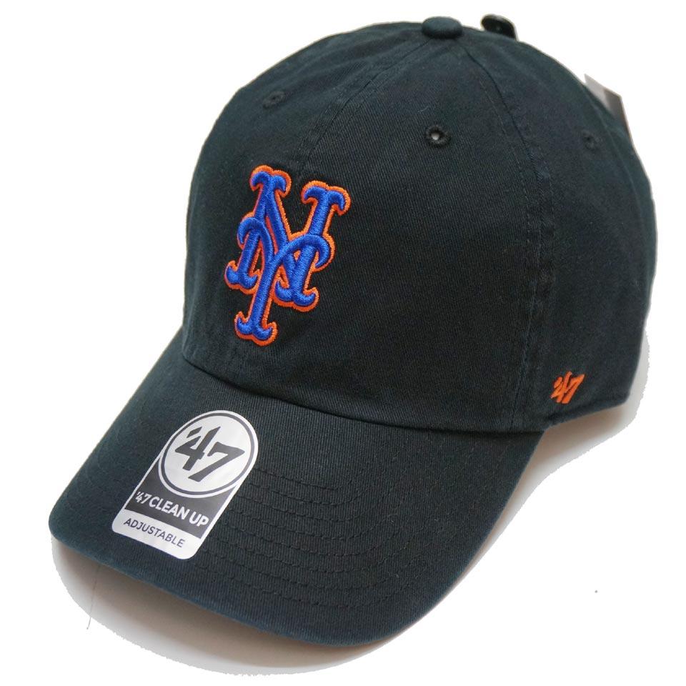 '47 フォーティーセブン ローキャップ 帽子 CLEAN UP CAP NEW YORK METS ニューヨークメッツ NY ブラック