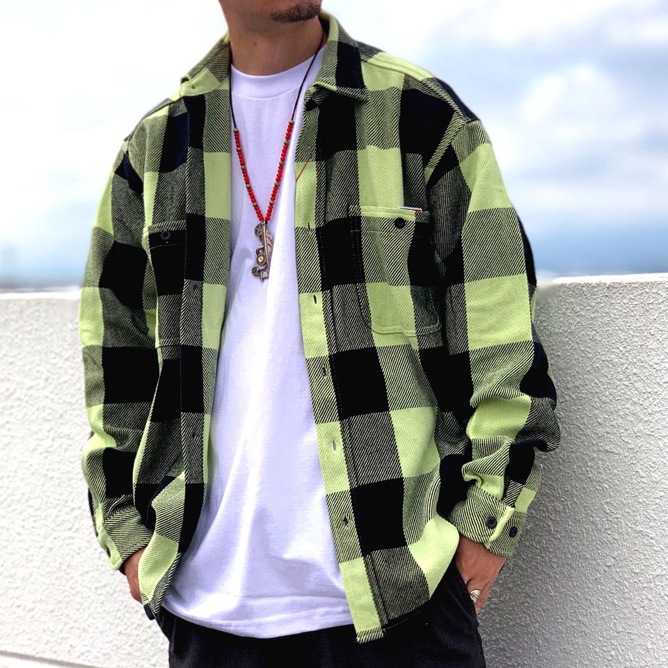 ビッグマック BIG MAC ブロックチェックシャツ BLOCK CHECK L/S SHIRT ネルシャツ フランネルシャツ チェック レモン LEMON