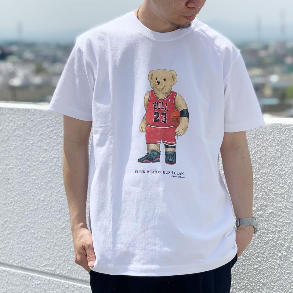 全2色 BUSH CLAN ブッシュクラン Tシャツ FUNK BEAR MJ BEAR HEAVY WEIGHT S/S Tee ファンクベア ホワイト ブラック