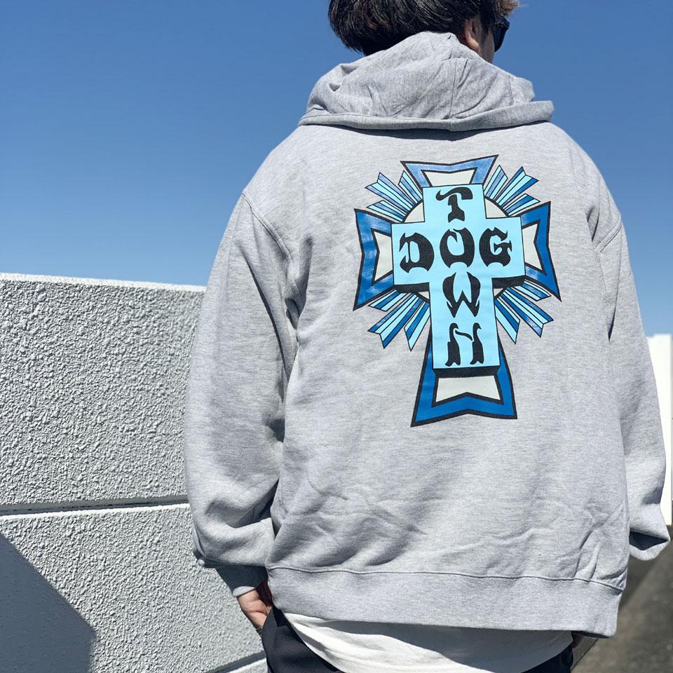 DOG TOWN ドッグタウン ジップパーカー CROSS LOGO ZIP HOODIE グレー