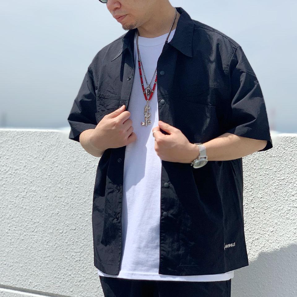 SALE セール 全4色 グラミチ GRAMICCI 半袖シャツ ナイロンシャツ SHELL CAMP SHIRT ブラック マスタード カモ ビーチレッド セットアップ GUJK-21S043