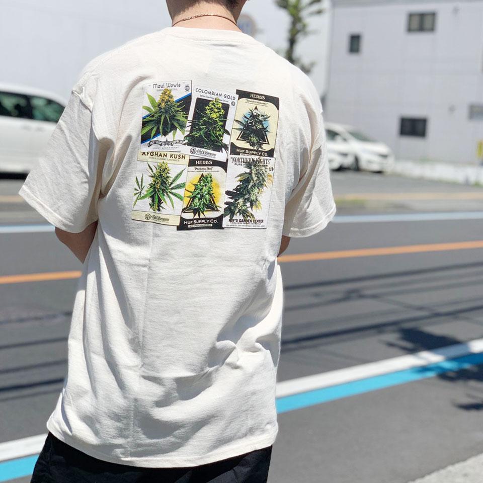 HUF ハフ Tシャツ GREEN THUMB S/S Tee ナチュラル ブラック 420COLLECTION