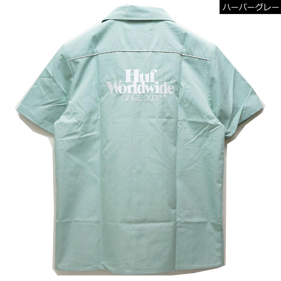 全2色 HUF ハフ ワークシャツ GAS STATION S/S SHIRT 半袖シャツ オフホワイト ハーバーグレー
