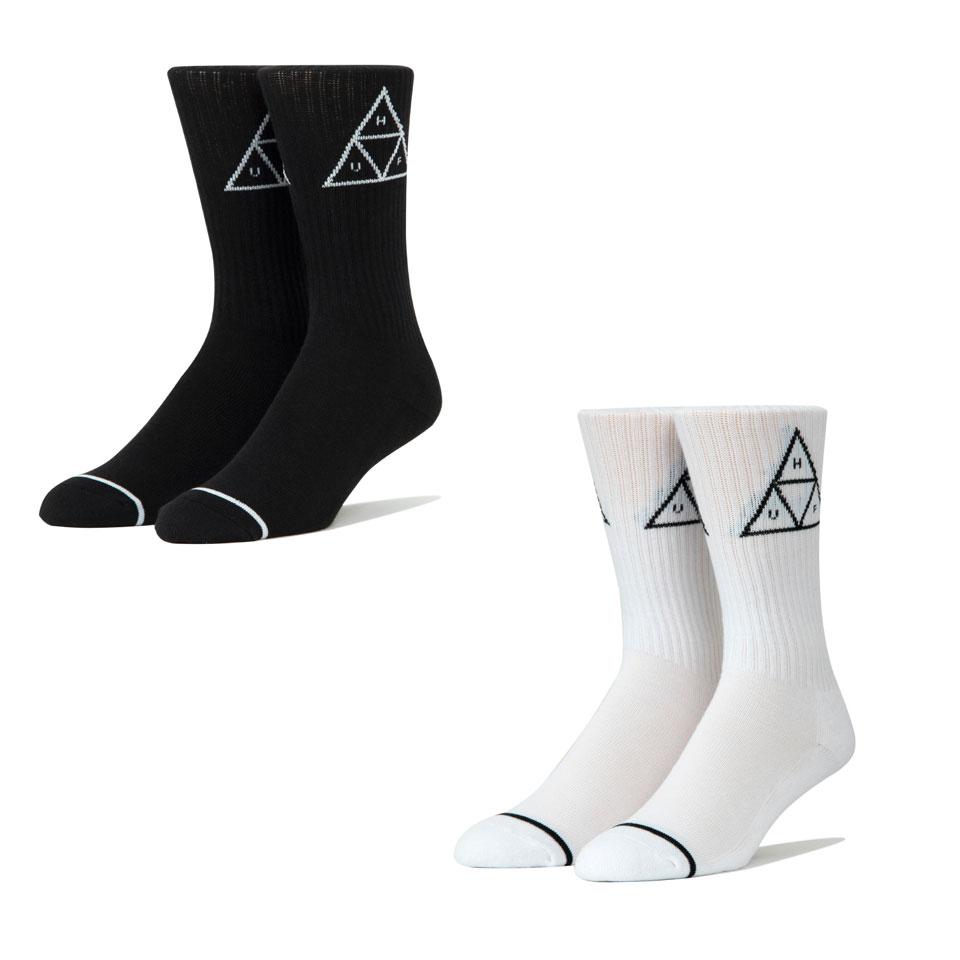 全2色 ハフ HUF 靴下 ソックス TRIPLE TRIANGLE CREW SOCKS トリプルトライングル ホワイト ブラック 白 黒 ワンポイント