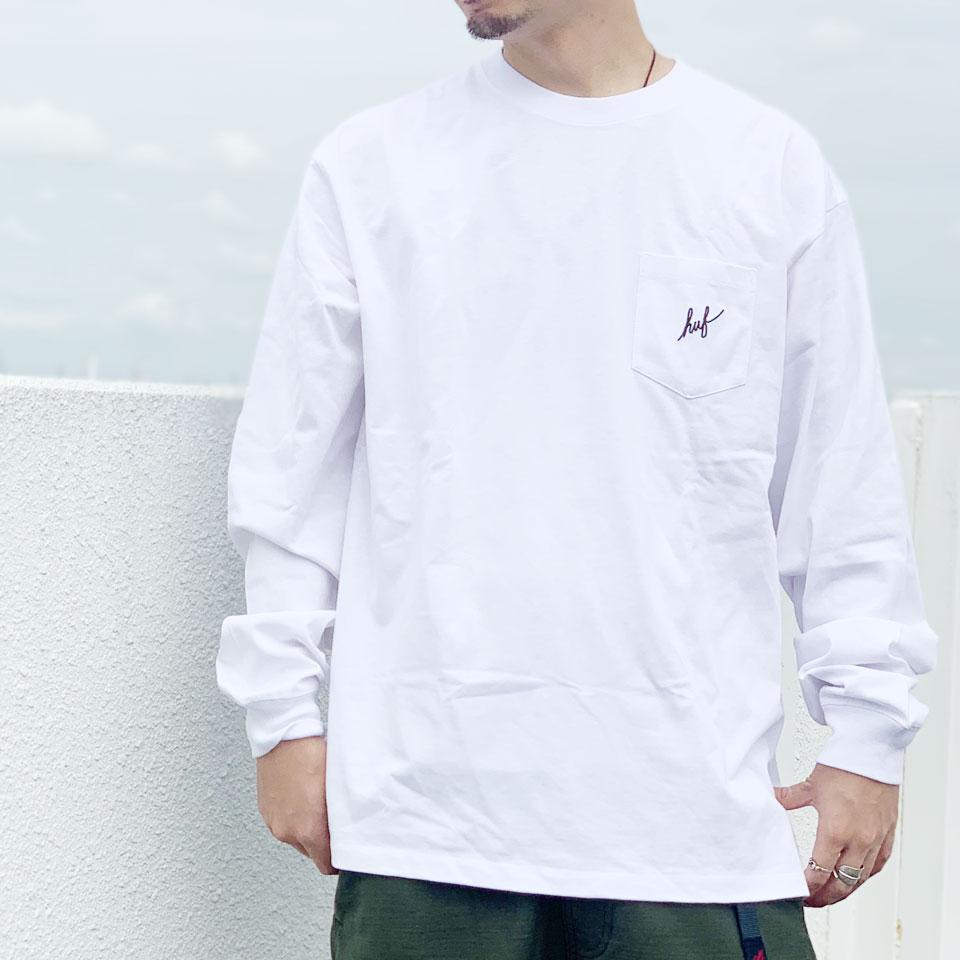 全2色 ハフ HUF ロンT Tシャツ SCRIPT POCKET L/S TEE スクリプトロゴ ポケットTシャツ 長袖 ホワイト ブラック