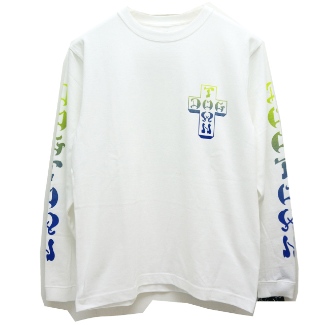 DOG TOWN ドッグタウン ロンT GRADATION CROSS LOGO L/S Tee - WHITE