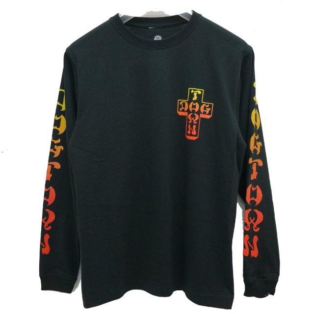 SALE セール DOG TOWN ドッグタウン ロンT GRADATION CROSS LOGO L/S Tee - BLACK