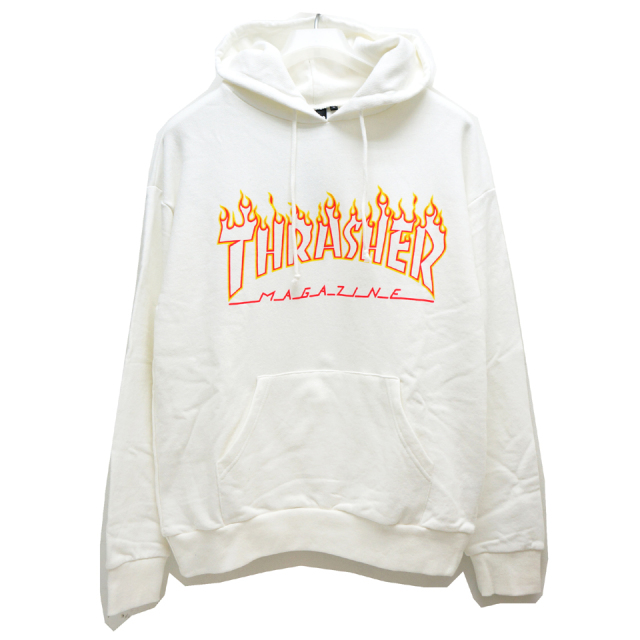 SALE セール THRASHER スラッシャー パーカー FLAME OUTLINE HOODIE TH95214US - WHITE 【#SafeAtHome】