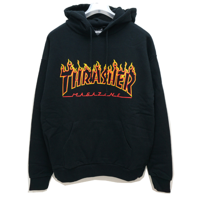 THRASHER スラッシャー パーカー FLAME OUTLINE HOODIE TH95214US - BLACK
