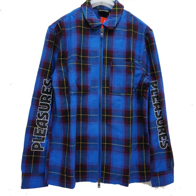PLEASURES プレジャーズ シャツジャケット VERNON ZIP JACKET - BLUE