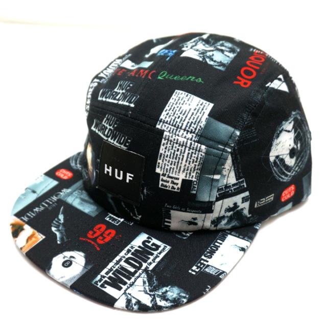 HUF ハフ HEADLINES VOLLEY CAP - BLACK