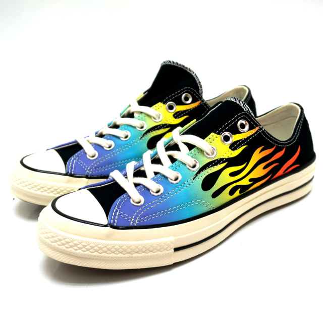 CONVERSE コンバース 日本未発売 CHUCK TAYLOR 1970's LOW CT70 OX - BLACK MULTI FLAME