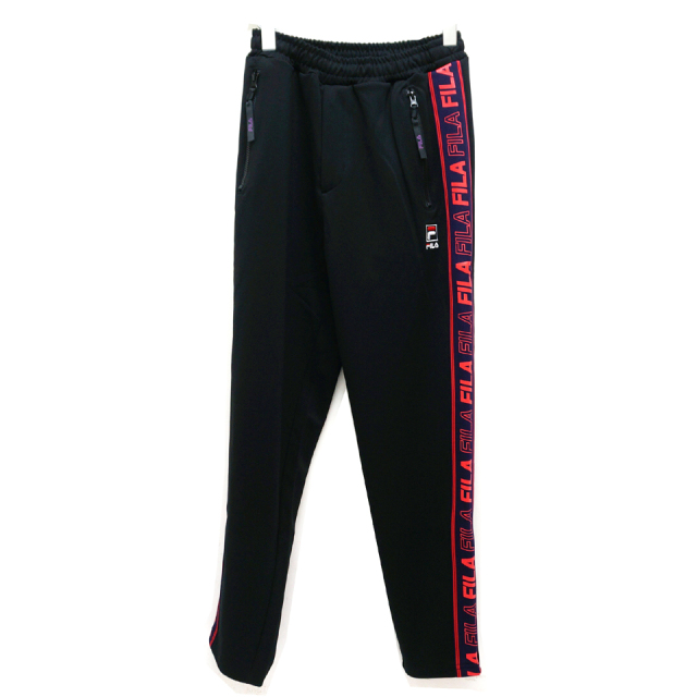 SALE セール FILA HERITAGE フィラ ヘリテージ SIDE LINE SLIM FIT JERSEY PANTS ジャージパンツ BLACK 【#SafeAtHome】