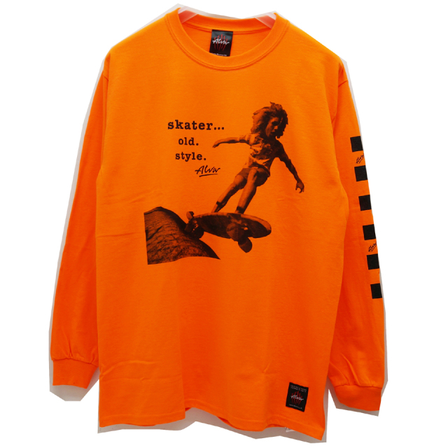 TONY ALVA トニーアルバ ALVA SKATES ロンT SKATER OLD STYLE L/S Tee ORANGE