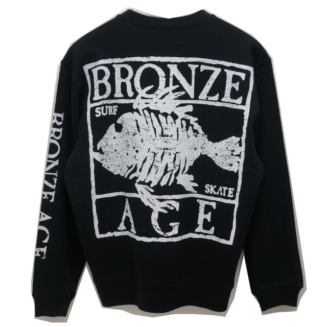 SALE セール BRONZE AGE ブロンズエイジ フーディー FISH LOGO CREW SWEAT BLACK