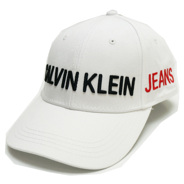 CALVIN KLEIN カルバンクライン キャップ CALVIN KLEIN JEANS LOGO 6PANEL CAP - WHITE