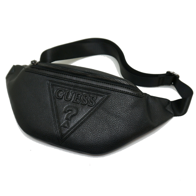 GUESS ゲス ウエストバッグ PU LEATHER WAIST BAG - BLACK