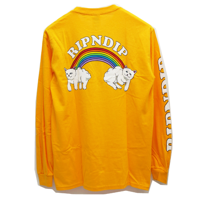 RIPNDIP リップンディップ ロンT DOUBLE NERM RAINBOW L/S Tee - YELLOW