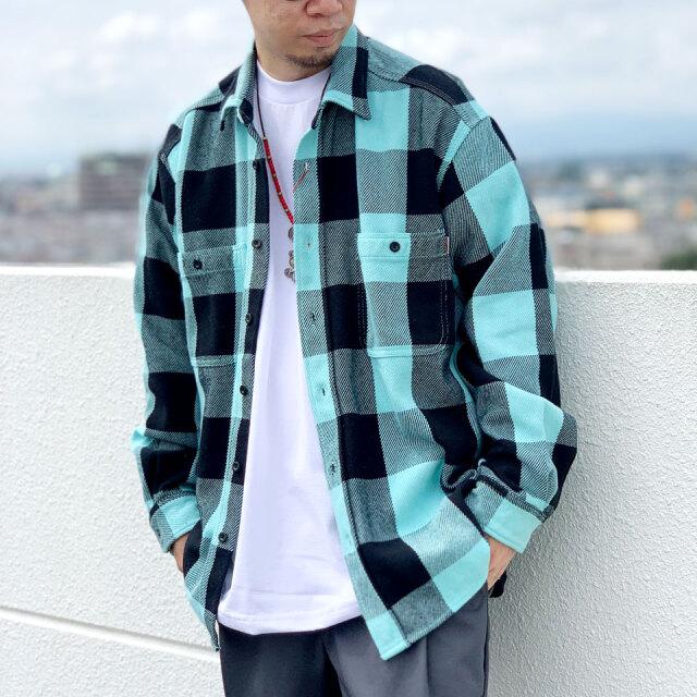 ビッグマック BIG MAC ブロックチェックシャツ BLOCK CHECK L/S SHIRT ネルシャツ フランネルシャツ チェック スカイ SKY