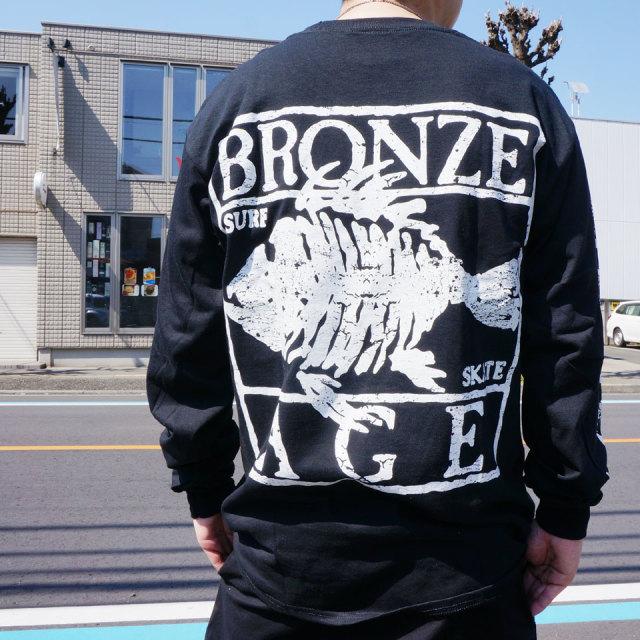 BRONZE AGE ブロンズエイジ ロンT Tシャツ OVAL LOGO L/S Tee ブラック ホワイト ネオンイエロー
