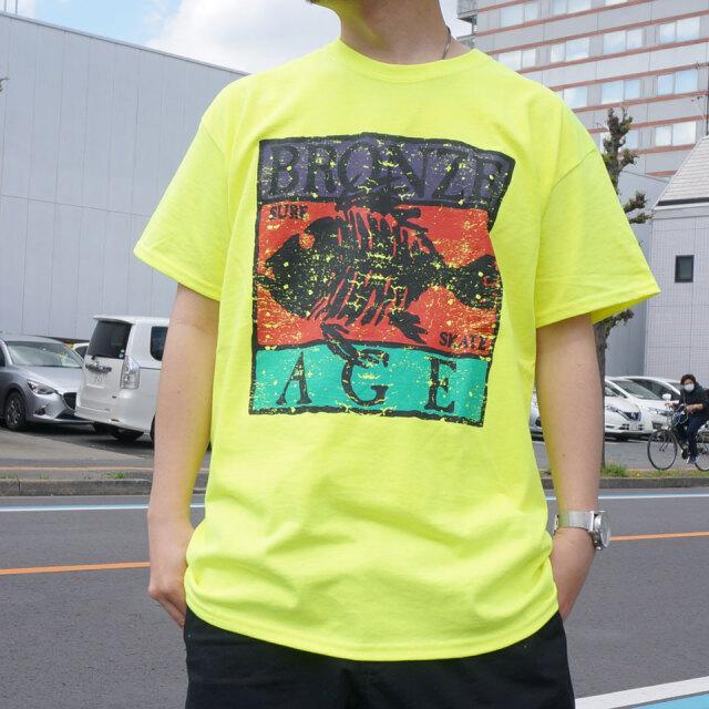 全2色 BRONZE AGE ブロンズエイジ Tシャツ SQUARE LOGO S/S Tee ブラック ネオンイエロー