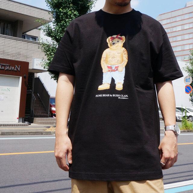 全3色 BUSH CLAN ブッシュクラン Tシャツ FUNK BEAR 2PAC  S/S Tee ファンクベア ホワイト ブラック サンド