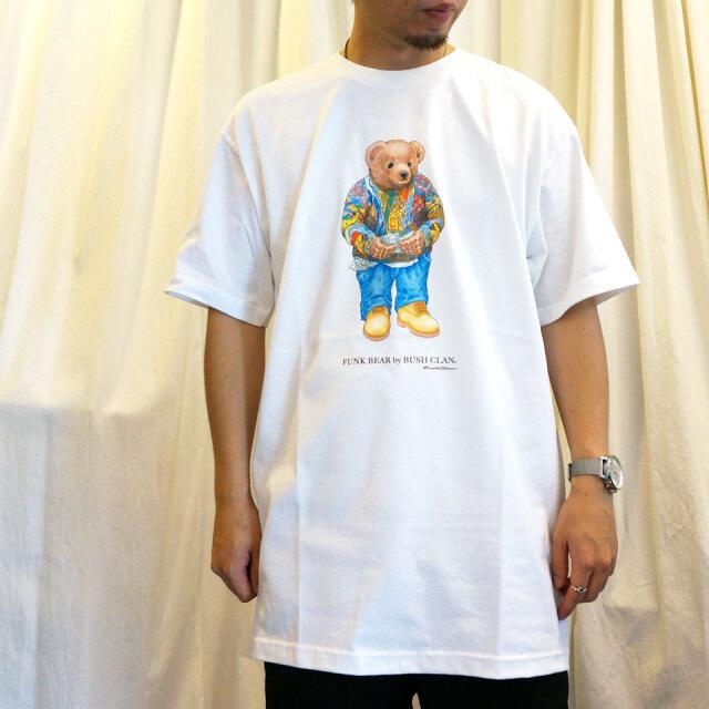 全2色 BUSH CLAN ブッシュクラン Tシャツ FUNK BEAR BIGGIE  S/S Tee ファンクベア ホワイト ブラック