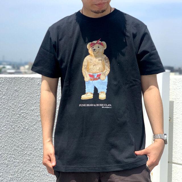 全2色 BUSH CLAN ブッシュクラン Tシャツ FUNK BEAR 2PAC HEAVY WEIGHT S/S Tee ファンクベア ホワイト ブラック