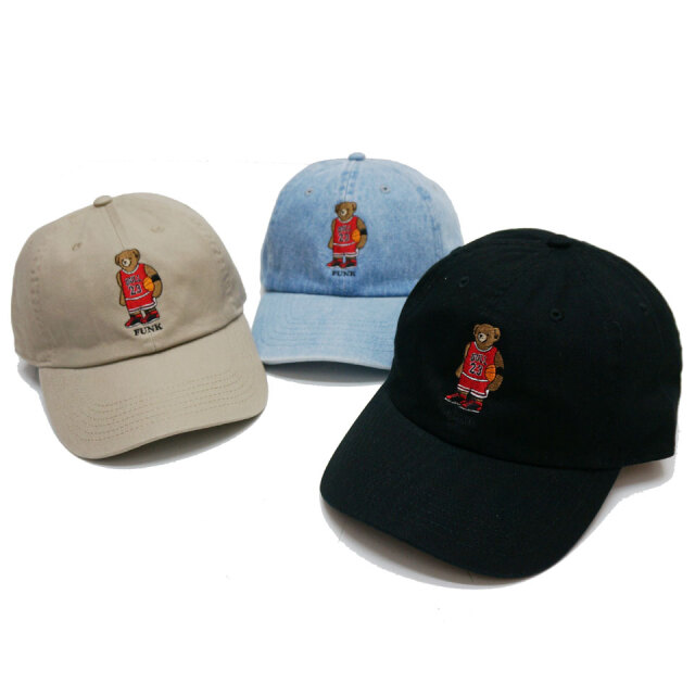 別注 全3色 ブッシュクラン BUSH CLAN ローキャップ MJ BEAR EMBROIDERED CAP ファンクベア FUNK BEAR ブラック デニム カーキ