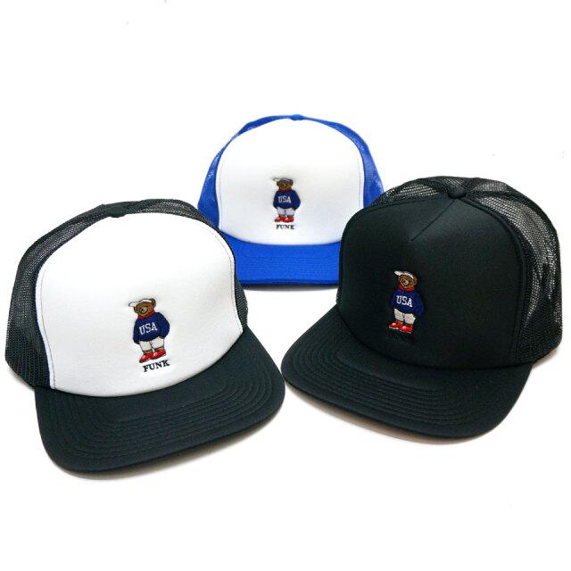 全3色 ブッシュクラン BUSH CLAN メッシュキャップ USA BEAR EMBROIDERED MESH CAP ファンクベア FUNK BEAR トラッカーハット ブラック ブルー